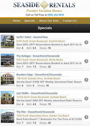 Seaside Vacation Rentals Mobile Site