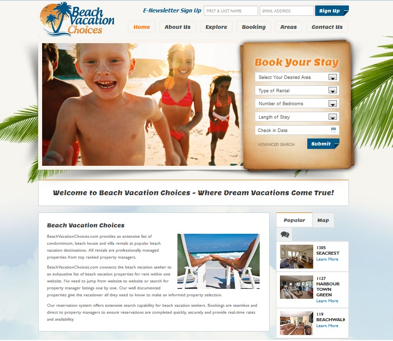 Beach Vacation Choices Homepage Screenshot