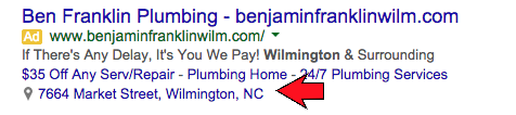 AdWords Location Extension