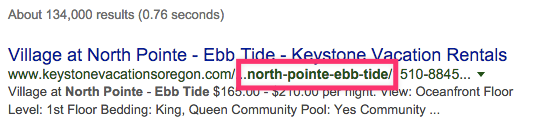 Even with long URLs, Google will show the keyword searched.