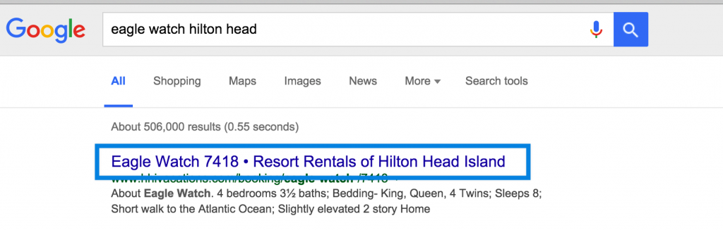 Resort Rentals of HHI uses SEO-optimized title tags.