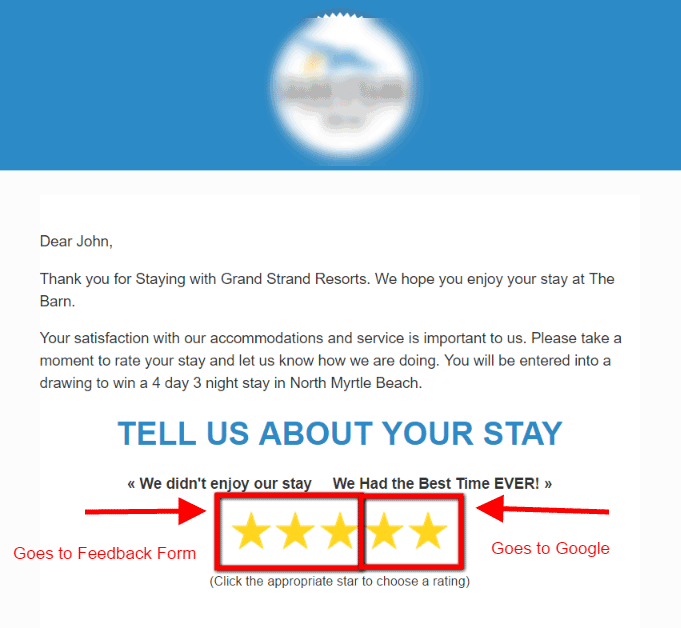 Vacation Rental Customer Satisfaction Survey and Google Reviews link