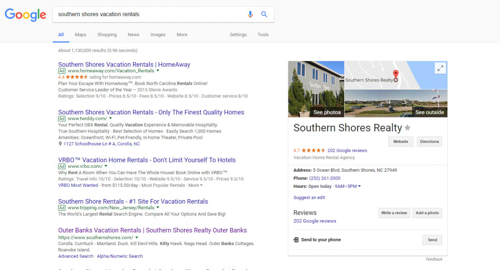 Vacation Rental PPC example in SERPs