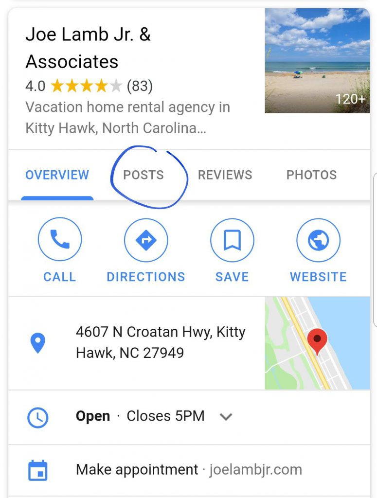New Google My Business Posts feature on a mobile local business SERP