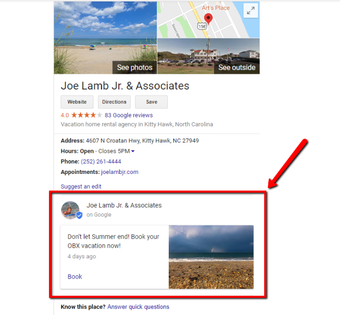 Google My Business update and how Posts display on a desktop SERP