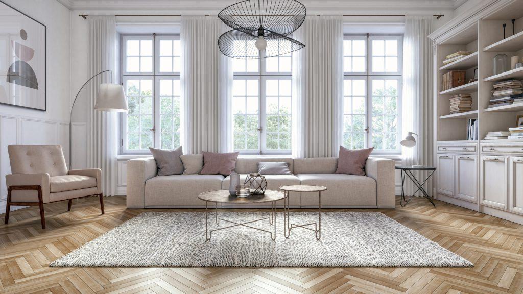 Interior design living room full of bright light.