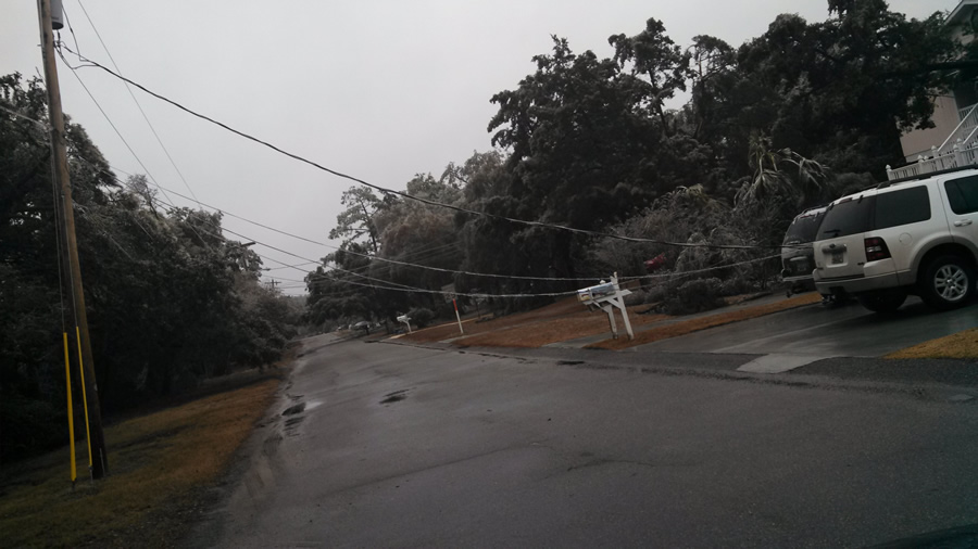 Downed power lines throughout the Southeast