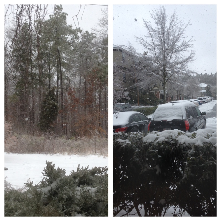 ICND staff reports snow falling in Apex, NC